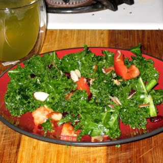 Kale Salad with Cranberries & Almond Slices.