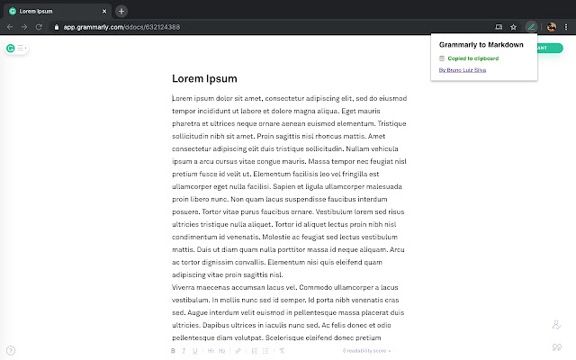 Grammarly to Markdown