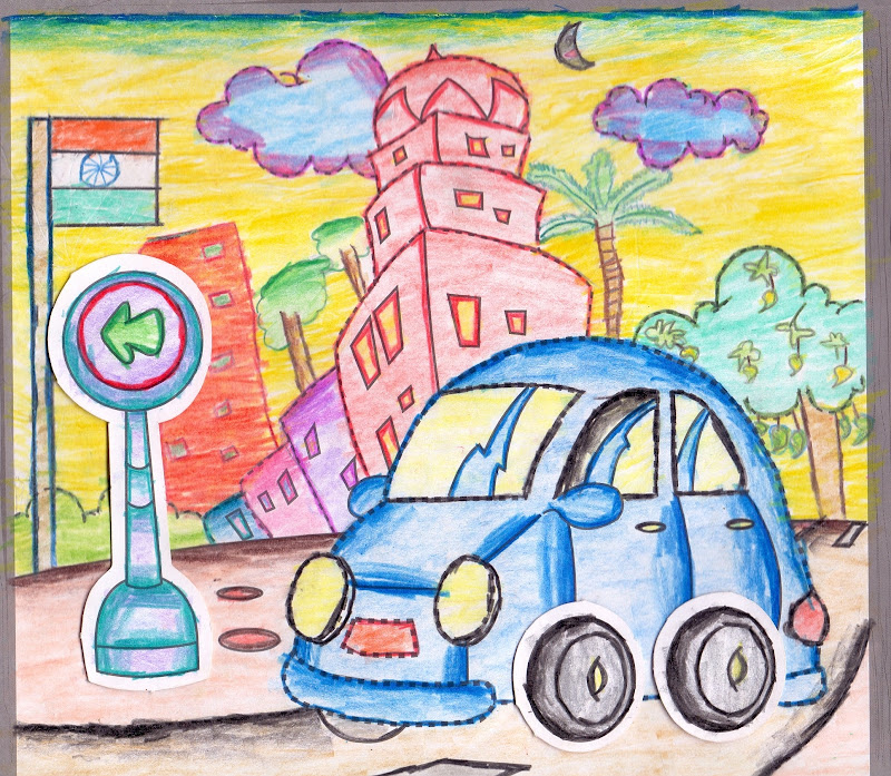 Car Drawing With Oil Paste Colouring Plowns