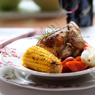 Roasted Rosemary Chicken and Corn on the Cob.