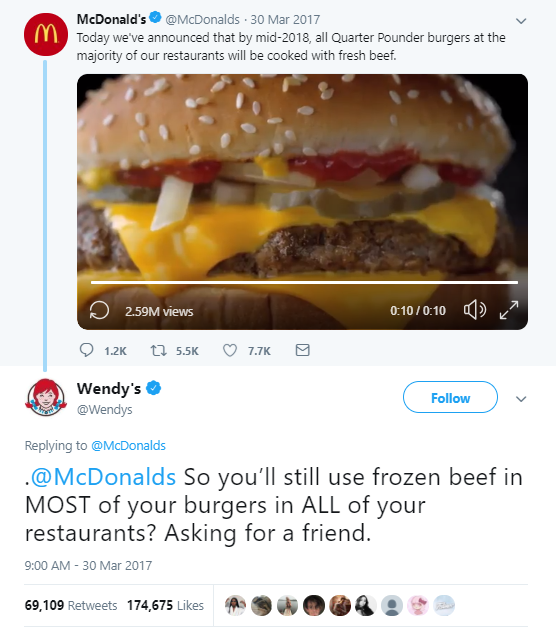 Comment by Wendy's to McDonald's tweet