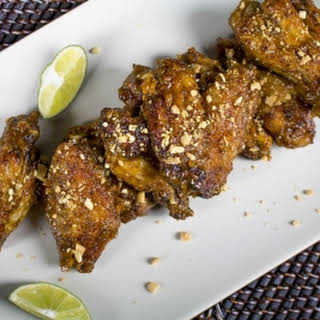 Thai Chicken Wings with Chili-Peanut Sauce.