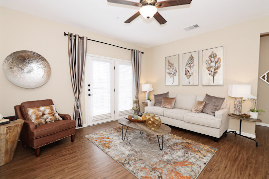 Model unit living room wood-style flooring