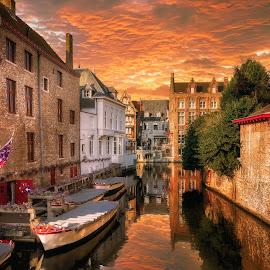 Bruges by Nick Moulds - City,  Street & Park  Neighborhoods ( bruges, belgium, boat, brugge, canal )