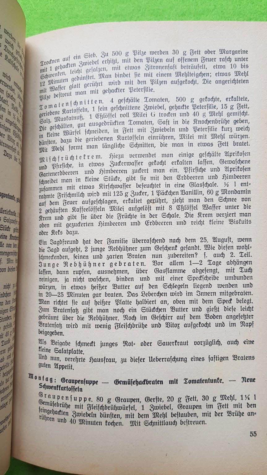 Eugen Bechtel, Nahrhaft, schmackhaft kochen - auch im Krieg!, 1940- Sommer-Speiseplan