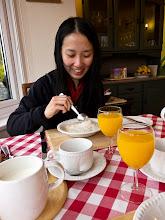 Photo: Serene enjoying her whiskey and porridge breakfast the following morning
