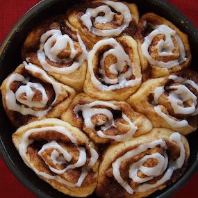 Cinnamon Buns by Joe Spandrusyszyn - Food & Drink Cooking & Baking ( roll, sweet, cinnamon, frosting, cinnamon roll, bun, breakfast, cinnamon bun, candy, dessert )