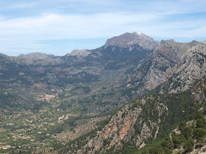 Photo: Penyal des Migdia and Fornalutx from Serra d'Alfàbia (hike 48)