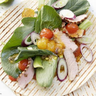 Veal, Mustard Spinach and Melon Chutney Wraps.