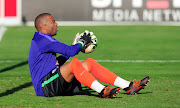 Bafana Bafana and Kaizer Chiefs midfielder Itumeleng Khune takes part during the South Africa training session at Princess Magogo Stadium on September 3 2018.