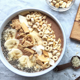 Peanut Butter and Banana Smoothie Bowls.