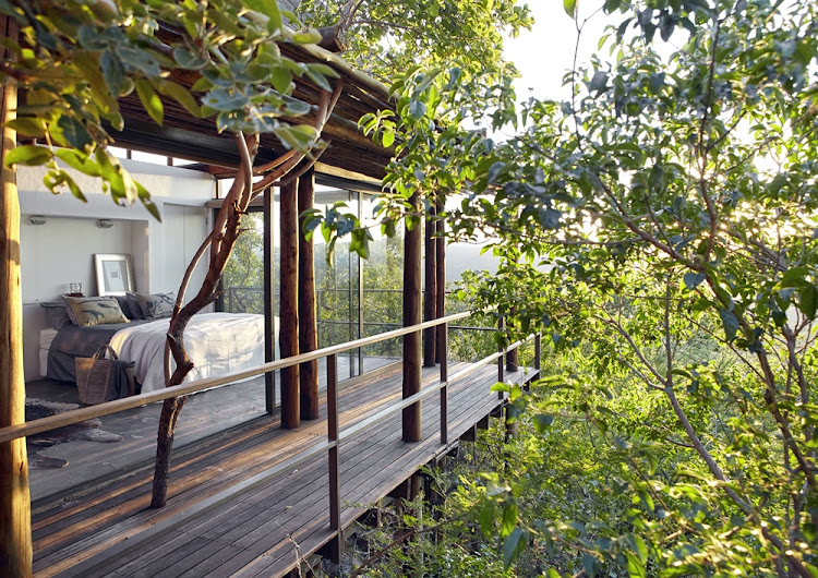 The three chalets that make up this holiday home are all on stilts, on a concrete platform raised among the treetops.