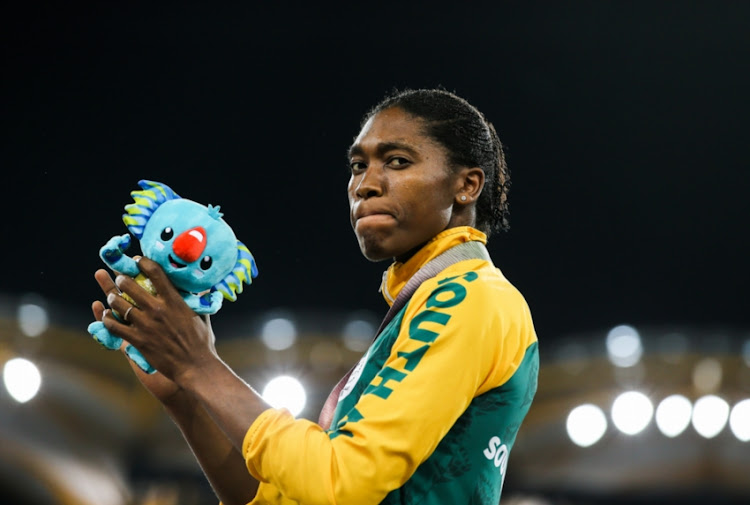 Caster Semenya of South Africa with her gold medal during the medal ceremony for the women's 800m during the evening session of athletics on day 9 of the Gold Coast 2018 Commonwealth Games at the Carrara Stadium on April 13, 2018 in Gold Coast, Australia.