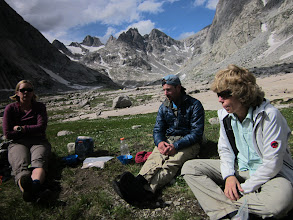 Photo: Bonney Pass is over Keith's left shoulder. We did not find the path of least resistance on the way up, in the dark