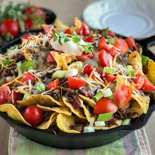 Easy Beef Skillet Nachos for your Next Party or Game Day.