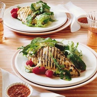 Weight Watchers Grilled Chicken with Raspberries and Greens