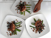 Main course was chicken with asparagus spears served with fried chickpeas with rosemary and limes.