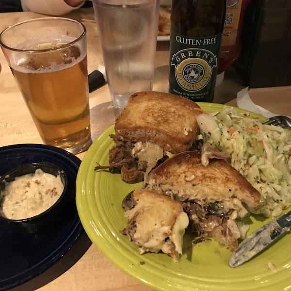 Cleveland cheesesteak with extra aioli sauce and gf Green's beer. Ohhhhh so yummy although the coleslaw was too peppery so I'll try something different next time.