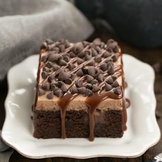 Chocolate Kahlua Poke Cake.