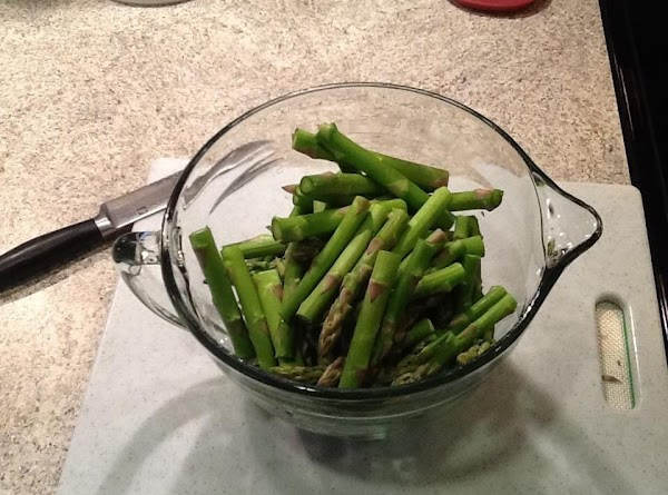 Wash and cut ends from asparagus. I usually cut about 2 1/2 to 3...