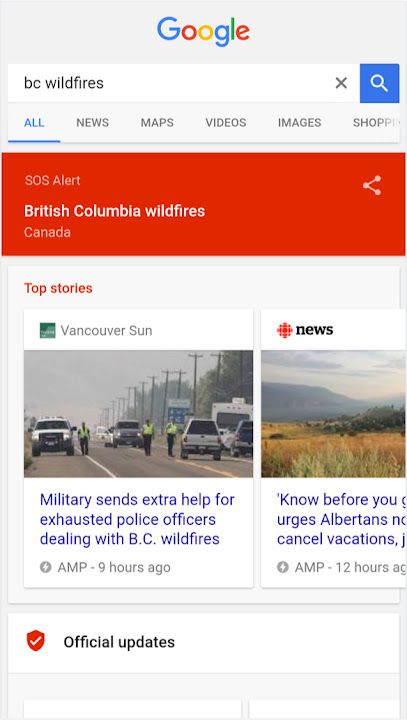 Google SOS alert banner and Top Stories on Search.