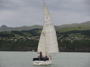 Photo: Good Point,  'Goose Winged'  racing on a Wednesday night, Lyttelton Harbour.