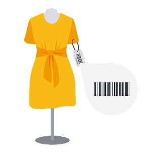 An illustration of a dress with the GTIN visible and highlighted