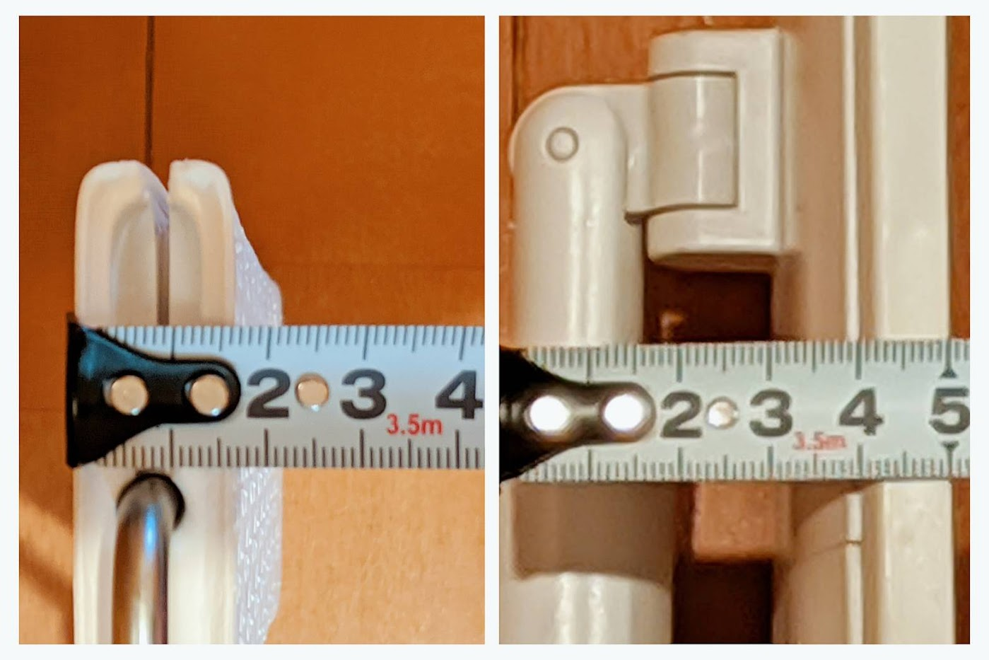 ヘッドを立てた状態で厚みをメジャーで測った画像。左がウェーブ1.6㎝、右が無印5㎝