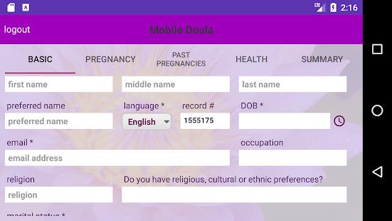 Mobile Doula Client Portal - náhled
