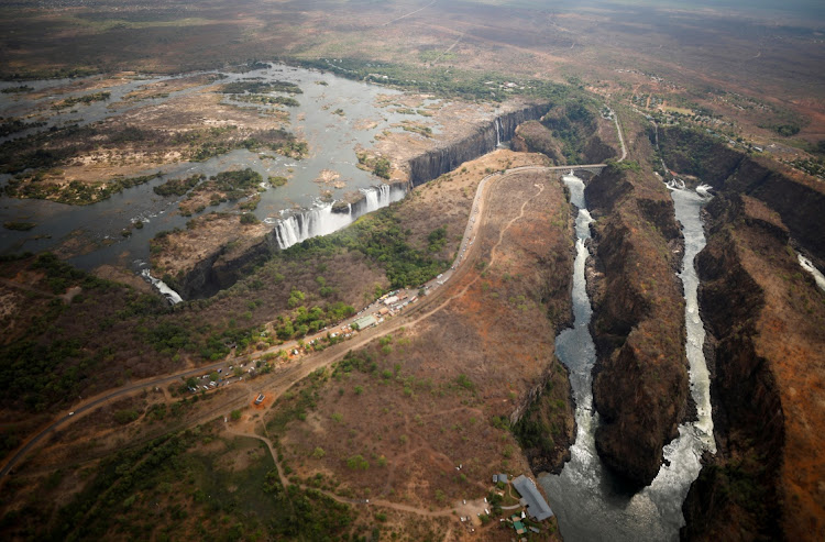 The Victoria Falls is seen from the air following a prolonged drought in Zimbabwe. IImage taken on December 5, 2019. Picture: MIKE HUTCHINGS/REUTERS