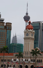 Photo: Clock tower, KL tower, & Petronas twin towers
