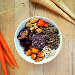 Seasonal Roasted Vegetable Bowl with Kale Pesto, Lentils and Barley Recipe