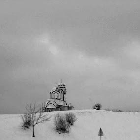 Black and white landscape 2 by Gordana Djokic - Landscapes Mountains & Hills ( mono-tone, b&w, nature, church, black and white, b and w, monotone, landscape )