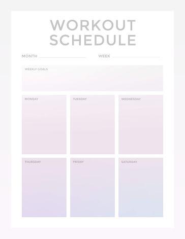 Gradient Workout Schedule - Weekly Planner template