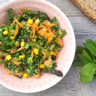 Asparagus, Kale Salad With Tahini Dressing [vegan]