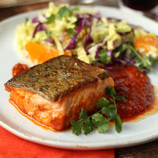 Salmon in Chraimeh with Winter Slaw
