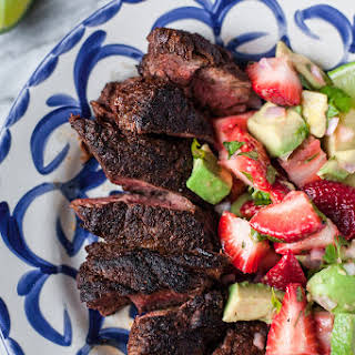 Mole-Spiced Hanger Steak with Strawberry-Avocado Salsa.
