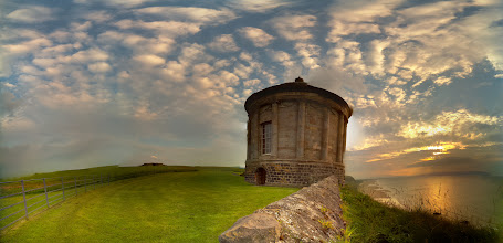 Photo: Mussenden temple looking down onto Downhill beach. Taken at 9:20pm with the Raspberry Pi camera board (32 separate photographs). Stitched with Hugin #RPPA
