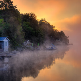 Trout Lake Sunrise by Melissa Connors - Landscapes Waterscapes ( fog, summer, lake, sunrise, morning )