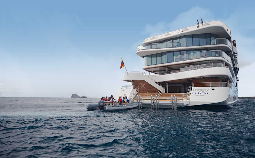 Travelers can go ashore and explore the Galapagos by taking a Zodiac from Celebrity Flora's marina.