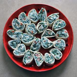 Creamy Spinach Spiral Tortilla Rolls.