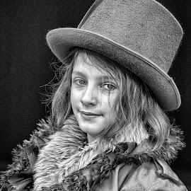 by Marco Bertamé - Black & White Portraits & People ( girl, steampunk, portrait, hat )