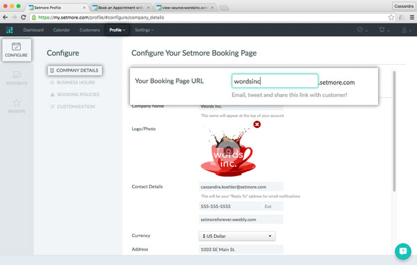 The Configure menu in Setmore allows a user to customize his or her booking page URL.