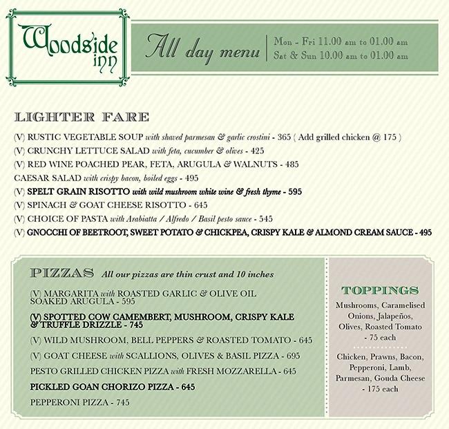 Woodside Inn menu 3