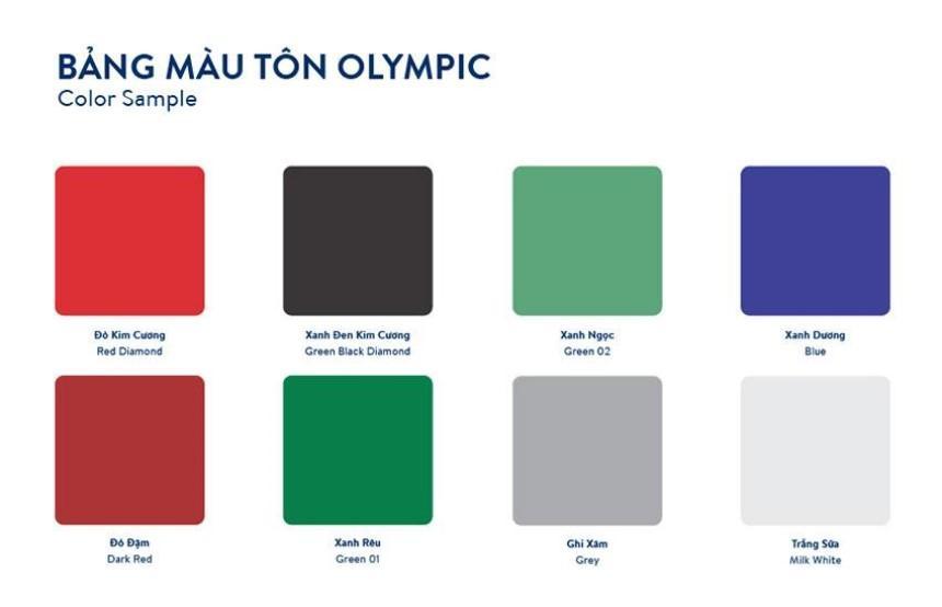 Tôn cách nhiệt sóng vuông Olympic đa dạng về màu sắc
