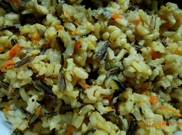 Add 1 c of long grain and wild rice and 2 c. of chicken...
