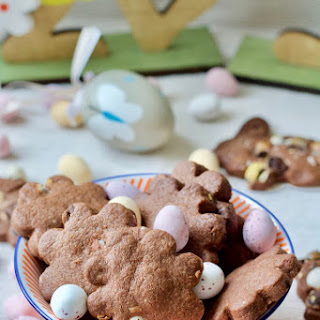 Easter Chocolate Shortbread Biscuits with Mini Eggs.