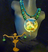 Photo: <BEREHYNYA> {Great Goddess Protectress} unique one-of-a-kind statement jewellery by Luba Bilash ART & ADORNMENT  #79 - PANGAEA - ПАНАГЕЯ - copper enamel pendant, Australian jasper, rose gold vermeil $180/set  SOLD 25/04/2015