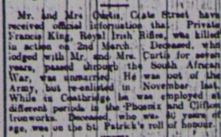 Francis King newspaper clipping