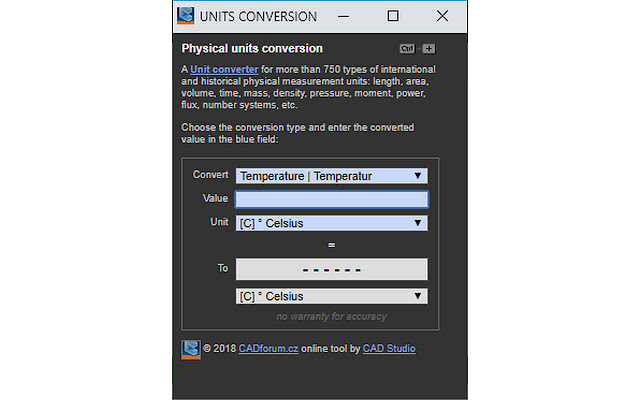 Units Converter for 750+ physical units